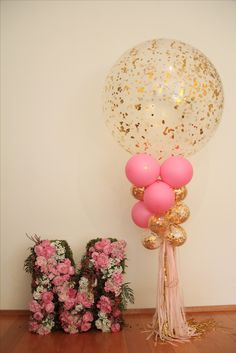 1st Birthday, floral letter, balloons, pink and gold
