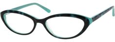 (6632 Acetate Full-Rim Frame with Spring Hinges) A cute dark front with patterned sides and a turquoise inside.