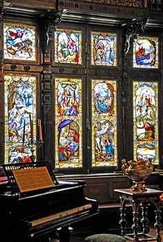 Peleș Castle is a Neo-Renaissance castle in the Carpathian Mountains, near Sinaia, in Prahova County, Romania, on an existing medieval route linking Transylvania and Wallachia, built between 1873 and 1914. Its inauguration was held in 1883.  Music Room Window, the Music Room became a musical salon for Queen Elizabeth's wish. The furniture for this room was a gift from the Maharajah of Kapurthala. by Dennis Jarvis  via Flickr