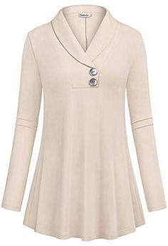 Buy online Ouncuty Women Fall Long Sleeve Tops Shawl Neck Button Down Dressy Blouses Shirts.Women Lightweight Pullover Blouses,Lady Leisure Retro Elongated Workout Loose Maternity Shirts Easy Dry Jersey Sweater Shirts for Outwear Eveing Out Beige Med Dress Neck Designs, Blouse Designs, Long Tunic Tops, Long Sleeve Tops, Sewing Blouses, Buy Clothes Online, Mode Hijab, Blouse Styles, Dress Patterns