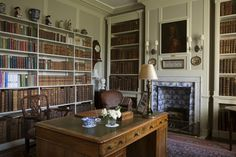 bookshelves and a tiled fireplace (credit: Nadia Mackenzie)