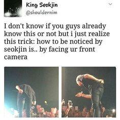 When I go to a concert I'm definitely doing this. Maybe my oppa will notice me. Bts Namjoon, Bts Jin, Bts Bangtan Boy, Bts Boys, Seokjin, Hoseok, Jimin, Bts Funny, Bts Memes Hilarious