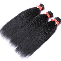 3 Bundles With Closure Hair Kinky Straight Brazilian Top Quality