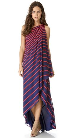 Halston Heritage One Shoulder Stripe Gown | SHOPBOP