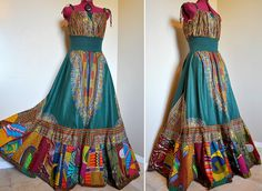 Tribal Bazaar -  Long African Patchwork Bohemian Gown, Ooak Dashiki Maxi dress,  Can fit sizes - S to XL. $162.00, via Etsy.