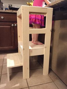 Natural Pine Childrenu0027s Kitchen Play Helper Step Stool Ez Storage,  Childrens Kitchens, Learning Tower