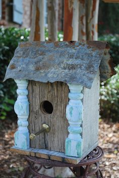 Wooded Birdhouse with Columns Upcycled Recycled Shabby Folk Art