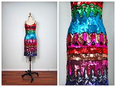MOD Retro Sequin Dress ‣ Fully Sequined Vintage Dress ‣ Geometric Abstract Embellished Dress ‣ Art Deco Party Dress