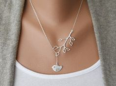 Bud Branch and Detailed Bird Lariat by morganprather on Etsy, $23.00