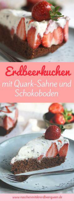 Einfacher Erdbeerkuchen mit Quark-Sahne, Schokostücken und Schokoboden. Erdbeerrezepte. Erdbeertorte.