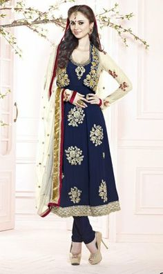 Amazing Navy Blue Color Georgette Bridal Churidar Kameez DLS2413. Sale : $111.00
