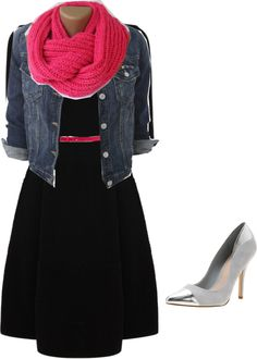Black dress accented with pink belt and scarf.