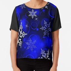 Vibrant royal blue background with silvery white snowflake motif. • Millions of unique designs by independent artists. Find your thing. White Snowflake, Snowflakes, Christmas Themes, Christmas Gifts, Royal Blue Background, Graphic Tees, Vibrant, Artists, Mens Fashion