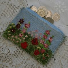 Embroidered Zipped Coin or Card Purse  Summer by Lynwoodcrafts, £18.00