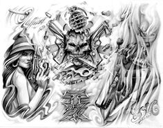 Gangster Tattoo Flash | awasteoftalent - gangsta tattoo flash 2 at Bluecanvas: The Artist ... Chicano Art Tattoos, Chicano Lettering, Gangster Tattoos, Boog Tattoo, Tattoo Flash, Cholo Art, Prison Art, Lowrider Art, Line Artwork