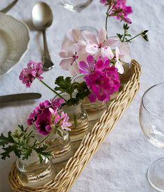 Un centrotavola facile e di grande effetto: mettete dei piccoli gerani nei vasetti portaspezie.