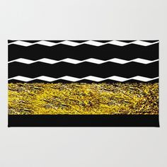 Black and Gold Glamour Pattern Area & Throw Rug by Saundra Myles - $28.00