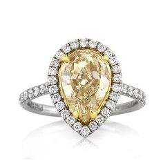 3.28ct Fancy Yellow Pear Shaped Diamond Engagement Ring