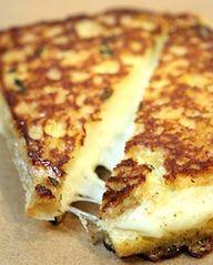 Grilled Mozzarella Sandwiches on garlic bread, serve with a side of marinara.