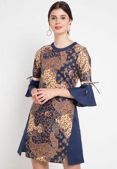 Dress Cheril from Rianty Batik in Casual Dresses, Short Dresses, Fashion Dresses, Blouse Batik Modern, Dress Batik Kombinasi, Model Dress Batik, Amarillis, Batik Kebaya, Batik Fashion