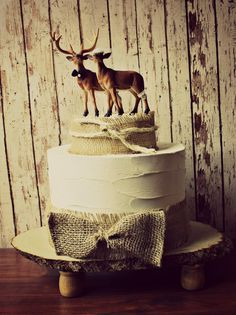 Deer wedding cake topper-Hunting wedding cake topper-Deer bride and groom-Hunting-Buck-Wedding Cake Topper. $48.00, via Etsy.