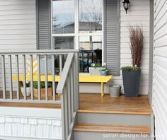 Spring Front Porch Decorating - Cottage Style - Yellow and Blue Front Porch Decor