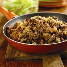 Beef & Potato Burrito filling.  I add 1 package of burrito mix for seasoning.  Yum and easy.