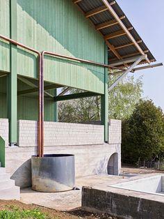Architecture Details, Interior Architecture, Steel Barns, Automotive Decor, Automotive Furniture, Australian Architecture, Geodesic Dome, Farm Yard, Condominium