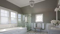 Nanjoo Design - bathrooms - vaulted ceiling, vaulted ceiling bathroom, bathroom vaulted ceiling, gray grasscloth, gray grasscloth wallpaper,...