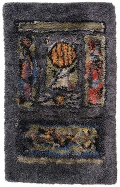 Ramon Isern; Hand-Knotted Wool Rya Rug for Sellgren, 1966.