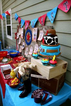cowboy themed terrible twos western second birthday party for two boys dessert table
