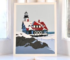 Portland Head Lighthouse in Winter Print (8x10 Giclee Poster, Wall Decor Art). Portland Head Light in Winter by Graphic Artist Alan Claude. Portland Head Light is the quintessential Maine lighthouse and one the most photographed lighthouses in America. How was I going to find a unique angle on a vertical canvas that captured its dramatic beauty? I started sketching this magnificent light in March but did not find the right composition until late August when the prominent shadows gave me…