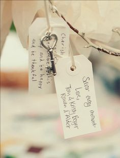 A shabby chic wedding guestbook idea-- keys to the couple's heart along with easy to DIY tags! LOVE it. {Melissa Copeland Photography}