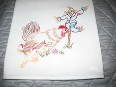 Design 837 Hen protecting chicks from scarecrow-hand embroidered flour sack 30 X 30 inch towel.