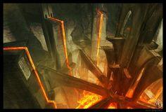 Lava environment by gregmks on DeviantArt Fantasy City, Fantasy Map, Fantasy Places, Medieval Fantasy, High Fantasy, Fantasy World, Fantasy Art Landscapes, Fantasy Landscape, Landscape Art