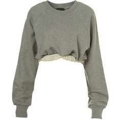 Roll Hem Sweater By Ashish (140 CAD) ❤ liked on Polyvore featuring tops, sweaters, jumpers, shirts, sweatshirt, women, grey jumper, roll up shirt, shirt sweater and cotton sweaters