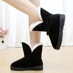 chaussures · Minetom Bottes De Neige Femme Bowtie Boots Avec Epais Fourrure  Laine Antidérapage Plat Talon Pour Hiver 2d16a0eacb4