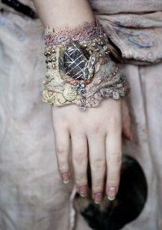 Talisman tribal influenced romantic wrist wrap from antique lace nuno felt seashore stone eco fashion with bohemian flair. via Etsy. Textile Jewelry, Fabric Jewelry, Jewelry Art, Jewellery, Felted Jewelry, Etsy Jewelry, Textiles, Lace Cuffs, Lace Gloves