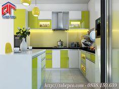 Tủ bếp Acrylic có bàn đảo thiết kế sáng tạo phá cách TBX122
