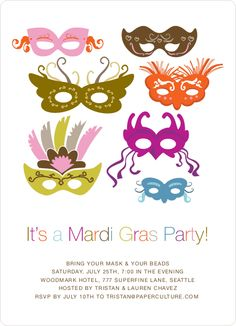 Mardi Gras Party Invitations by Paper Culture