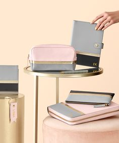 Why not make each day extra special with these gorgeous leather accessories featuring pink and grey leather with pops of gold?