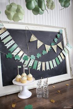 """I designed3 fun free printable banners for you for St. Patrick's Day using fun graphics from our sponsor,GraphicStock.com. I hope you love them! The 3 banners include patterned pennants, gold """"lucky"""" banner, and a shamrock banner. I will have all of the links to download the free printables together below. I used my paper cutter...Read More »"""