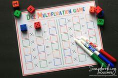 Dice Multiplication MATH Game for Kids - Free Printable! Math Multiplication Games, Math Manipulatives, Math Fractions, Math Math, Maths, Color Activities For Toddlers, Math Games For Kids, Free Printable Bingo Cards, Math Addition Games