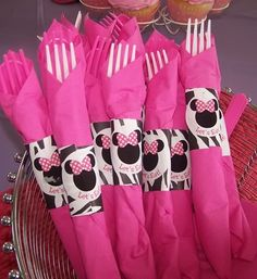 Great idea for flatware. Use any color napkin and then cricut whatever design you need for the top.