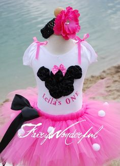 Sewn Minnie Mouse Inspired Tutu in Pink Perfect for Birthday, Photo Prop, Gift, Keepsake, trip to Disneyland
