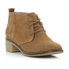 bertie ladies tan simple low ankle suede desert boot, dune shoes online