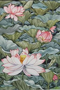 "Lotus Garden by Diane Lawrence Watercolor ~ 20"" x 27"""