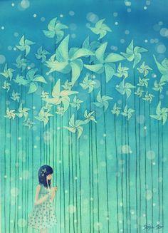 """Fuck Yeah Illustrative Art! • enoqi: ↳""""Pinwheels and Daydreams"""" by Nhienan✩..."""