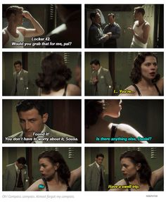 Daniel Sousa and Peggy Carter were adorable here....even though it was rather scandalous. :) #TheIronCeiling