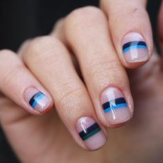 striped mani art